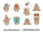 christmas brown bear cartoon... | Shutterstock .eps vector #1850006290