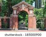 Stock photo harvard university gate to college campus 185000900