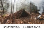 Survival Shelter Debris Hut In ...