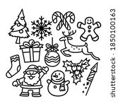 christmas icon set doodle... | Shutterstock .eps vector #1850100163