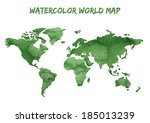 watercolor world map  | Shutterstock .eps vector #185013239