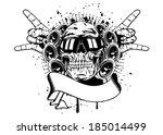 vector illustration human skull ...   Shutterstock .eps vector #185014499
