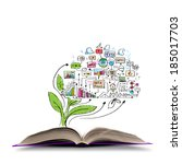 opened book with business... | Shutterstock . vector #185017703