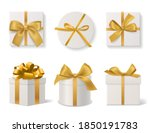 realistic decorative gift boxes.... | Shutterstock .eps vector #1850191783