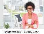 portrait of a casual female... | Shutterstock . vector #185022254