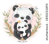 cute doodle panda with floral... | Shutterstock .eps vector #1850231893