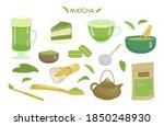 matcha tea and desserts vector... | Shutterstock .eps vector #1850248930
