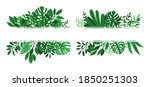 tropical leaves banners. green... | Shutterstock .eps vector #1850251303