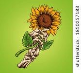 sunflower skeleton hand vector... | Shutterstock .eps vector #1850257183