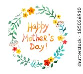 floral round wreath for mothers ... | Shutterstock . vector #185026910