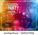 summer party flyer for music... | Shutterstock .eps vector #185027906