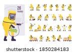 man wearing yellow hazmat... | Shutterstock .eps vector #1850284183