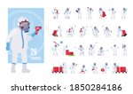 man wearing disposable coverall ... | Shutterstock .eps vector #1850284186