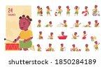 toddler child  little black... | Shutterstock .eps vector #1850284189