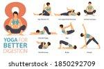 infographic 8 yoga poses for... | Shutterstock .eps vector #1850292709