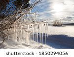 Icicles Lit By The Sun On The...