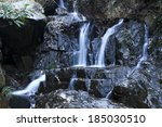 hiking along waterfall in forest | Shutterstock . vector #185030510