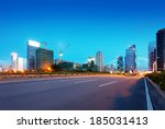 light trails on the street at...   Shutterstock . vector #185031413