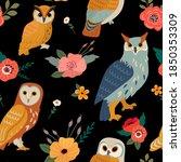 vector seamless owl floral... | Shutterstock .eps vector #1850353309