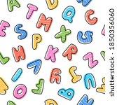 cute cartoon letters seamless... | Shutterstock .eps vector #1850356060