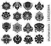 set of graphic flowers | Shutterstock .eps vector #185035844
