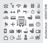 hotel and travel icon set on... | Shutterstock .eps vector #185037248
