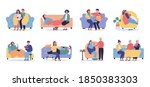 set of ill or sick and... | Shutterstock .eps vector #1850383303