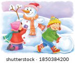 Winter. Cute Boy And Girl Are...