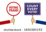 hands holding placards with...   Shutterstock .eps vector #1850385193