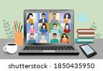 video online conference. video... | Shutterstock .eps vector #1850435950