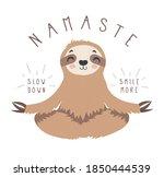 cute cartoon sloth sitting in... | Shutterstock .eps vector #1850444539