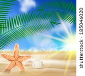 summer beach background summer... | Shutterstock .eps vector #185046020