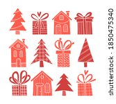 vector silhouettes of christmas ... | Shutterstock .eps vector #1850475340