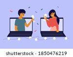 people celebrate event remotely.... | Shutterstock .eps vector #1850476219