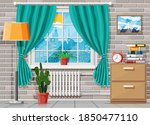 domestic room interior. cabinet ...   Shutterstock .eps vector #1850477110