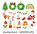christmas kids clipart   santa... | Shutterstock .eps vector #1850501293