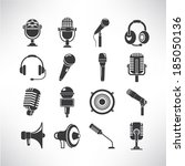 microphone icons set | Shutterstock .eps vector #185050136