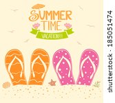 summer illustration two pairs of flip flops in the sand