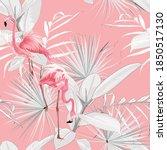 Pink Flamingo  Graphic Palm...