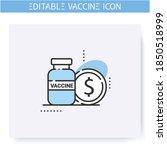 vaccine price line icon.... | Shutterstock .eps vector #1850518999