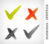 brushed vector check mark sing  ... | Shutterstock .eps vector #185055116