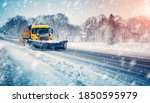 Snow Plow Truck Cleaning Snowy...