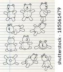 cute hand drawn plush bears | Shutterstock .eps vector #185061479