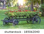 Old Wheel Cart With Flowers In...