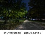 Small photo of The teiled road in the night park with lanterns in autumn. Benches in the park during the autumn season at night. Illumination of a park road with lanterns at night. Park Kyoto