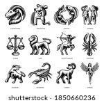 black and white zodiac signs...   Shutterstock .eps vector #1850660236