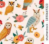 vector seamless owl floral... | Shutterstock .eps vector #1850669323