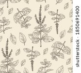 seamless pattern with tulasi ...   Shutterstock .eps vector #1850691400