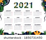 New Year Calendar 2021 In Flat...