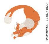 lovely ginger cat drawn in jump ... | Shutterstock .eps vector #1850741020